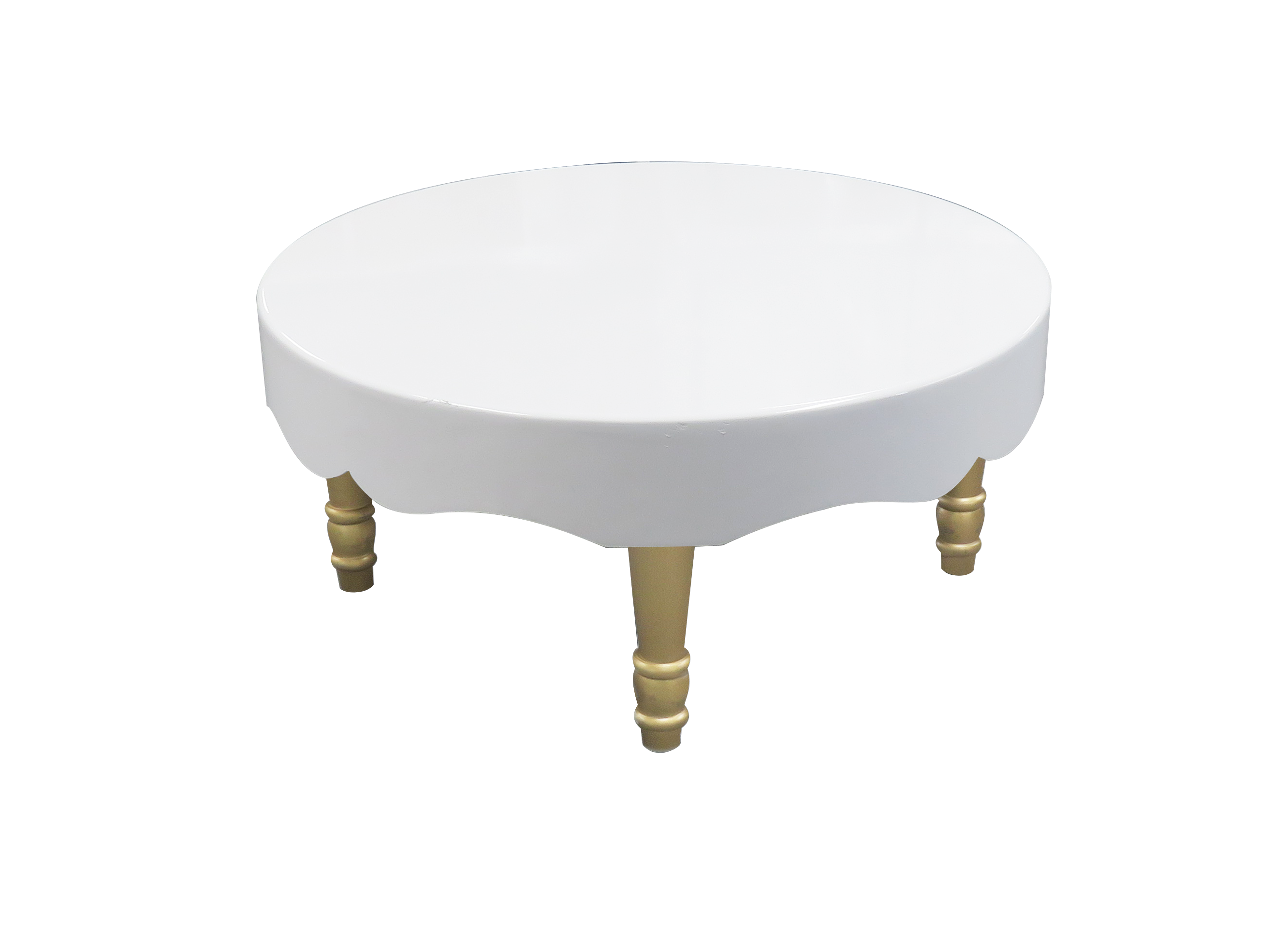 avalon chic round gold coffee table available for rent or sale in