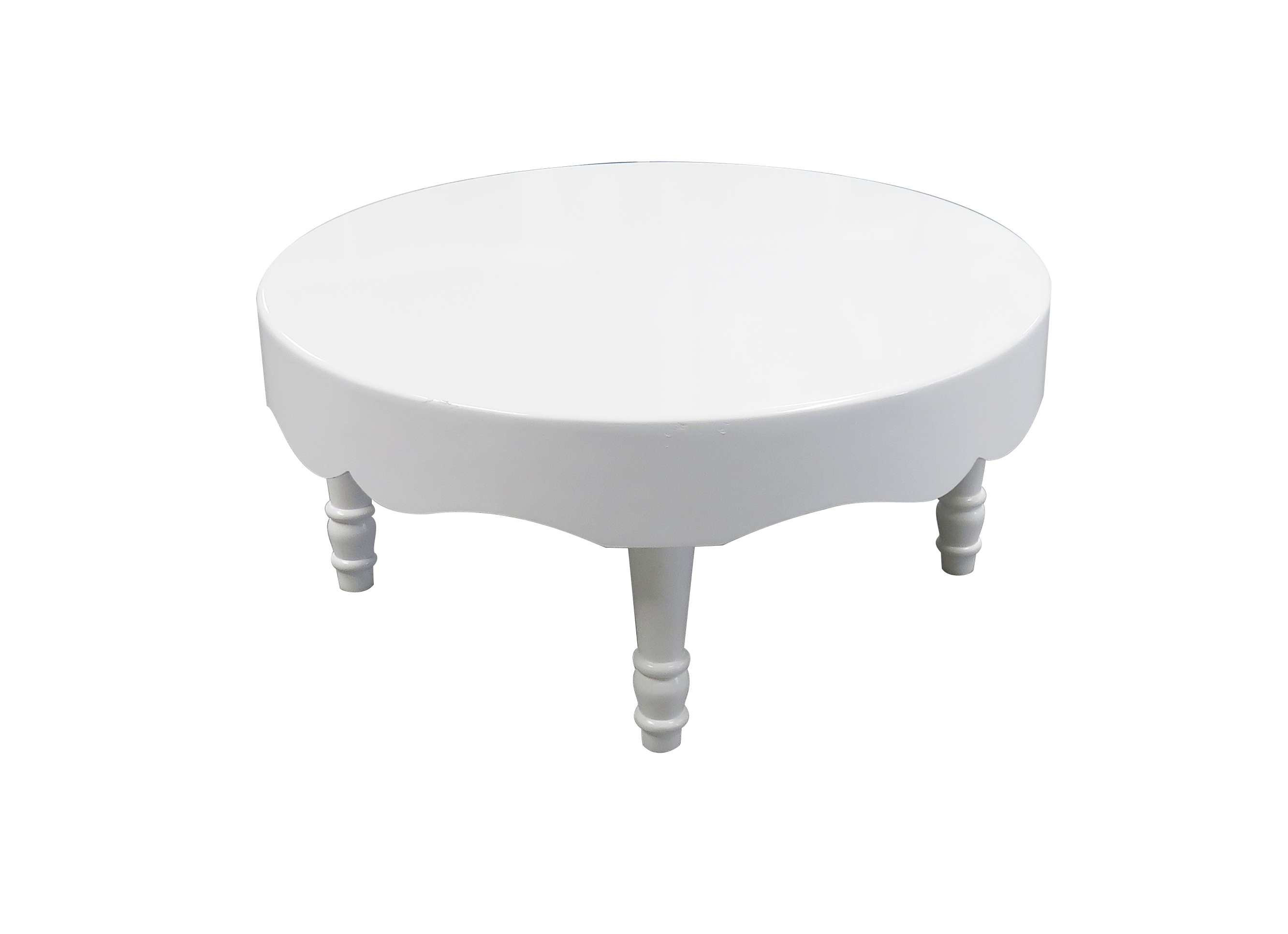 Avalon Chic Round White Coffee Table available for rent or sale in