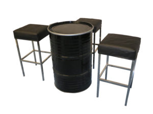 Black Barcelona Bar Stool with Collins Drum Cocktail Table 2 300x225 - Black Barcelona Bar Stool