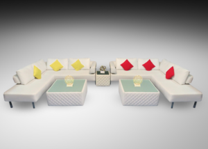 Chelsea L Shaped sofas with royal windsor square coffee tables and royal windsor cube table and yellow and red cushions 1 300x214 - Royal Windsor Square Coffee Table