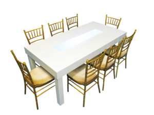 Clement Dining Table with Gold Chiavari Chairs 1 300x225 - Clement Dining Table