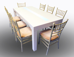 Clementine Dining Table with Champagne Chiavari Chairs 1 300x233 - Champagne Chiavari Chair