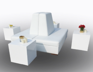 Le Minou Cube Table with Clio Sofa 2 300x233 - Clio Sectional Bench