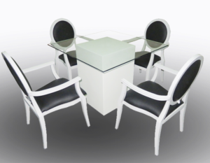 Le Minou Glass Dining Table with Black Louis Dining Chair with Arms 2 300x233 - Black Dior Dining Armchair