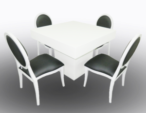 Le Minou Square Dining Table with Black Louis Dining Chair 2 300x233 - Black Dior Dining Chair