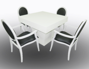 Le Minou Square Dining Table with Black Louis Dining Chair with Arms 2 300x233 - Black Dior Dining Armchair
