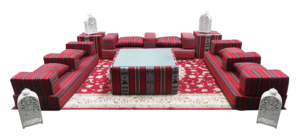 Low Arabic Seating Patter 1 Setup 6 300x139 - Arabic Majlis Mattress #1