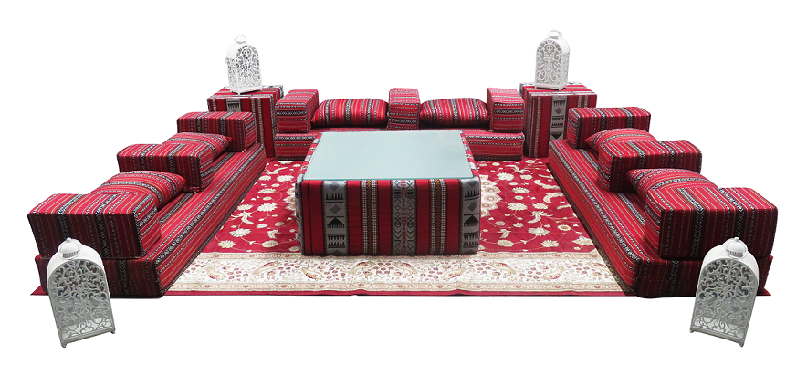 Rent Or Buy Arabic Majlis Arm Cushion 1 Event Rental  : Low Arabic Seating Patter 1 Setup from areeka.ae size 884 x 411 png 459kB