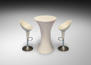Madrid acrylic bar stools with lyra cocktail table R 2 300x214 - Lycra Cocktail Table