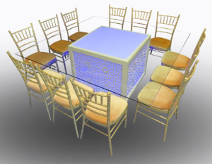 Mashrabiya Dining Table with Champagne Chiavari Chairs 1 300x233 - Champagne Chiavari Chair
