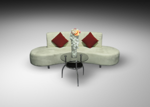 Oasis sofa with round glass coffee table and red cushions 1 300x214 - Oasis Sofa