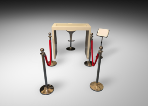 Oxford high table with madrid acrylic bar stool and directional stand and gold extension poles with red extension rope 3 300x214 - Oxford High Table