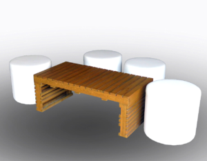 Pallet Rectangular Coffee Table with Roma Round Pouffes 1 300x233 - Braun Pallet Rectangular Coffee Table