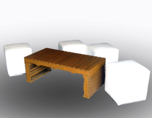 Pallet Rectangular Coffee Table with Roma Square Pouffes 1 300x233 - Braun Pallet Rectangular Coffee Table