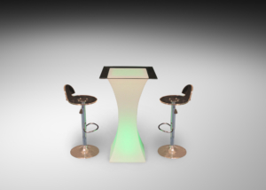 Pina acrylic bar stools with square LED cocktail table with glass top 2 R 1 300x214 - Pina Acrylic Bar Stool