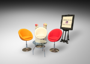 Pod chairs with round glass coffee table and cube table and presentation frame and stand 1 300x214 - Cheval Round Glass Coffee Table