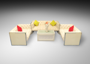 Ramsden 2 and 3 seater sofas with casablanca rectangular table with glass top and red and yellow cushions 2 300x214 - Ramsden 2-Seater Sofa