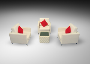 Sophie 1 seater arm chairs with royal windsor cube table and red cushions 1 300x214 - Royal Windsor Cube Table