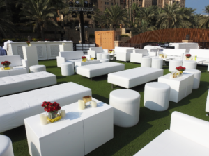 Roma round pouffe, Colin cube table, Indiana Ottaman, Lounge setup, outdoor event
