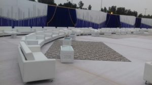 Sophie 2-Seater Sofa Set Up, outdoor event