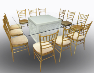 Unlit Mashrabiya Dining Table with Gold Chiavari Chairs 1 300x233 - Gold Chiavari Chair
