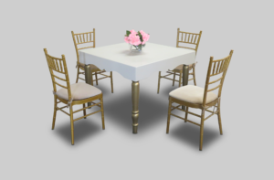 aug2017 avalon chic square gold dining table setup dining tables 1 300x197 - Avalon Chic Square Gold Dining Table