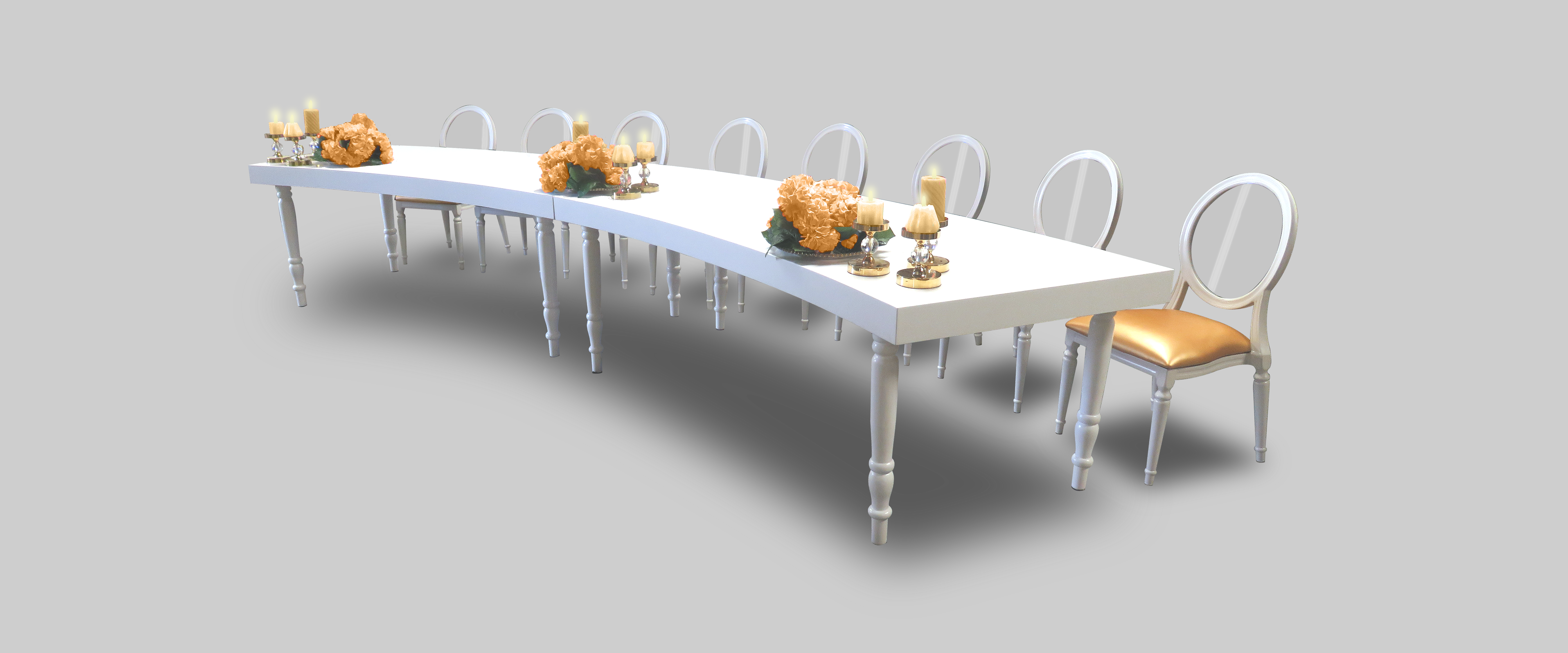 Rent Or Buy Avalon Curved White Dining Table Event  : aug2017 avalon curved white dining table setup 2 dining tables from areeka.ae size 5400 x 2250 png 3170kB