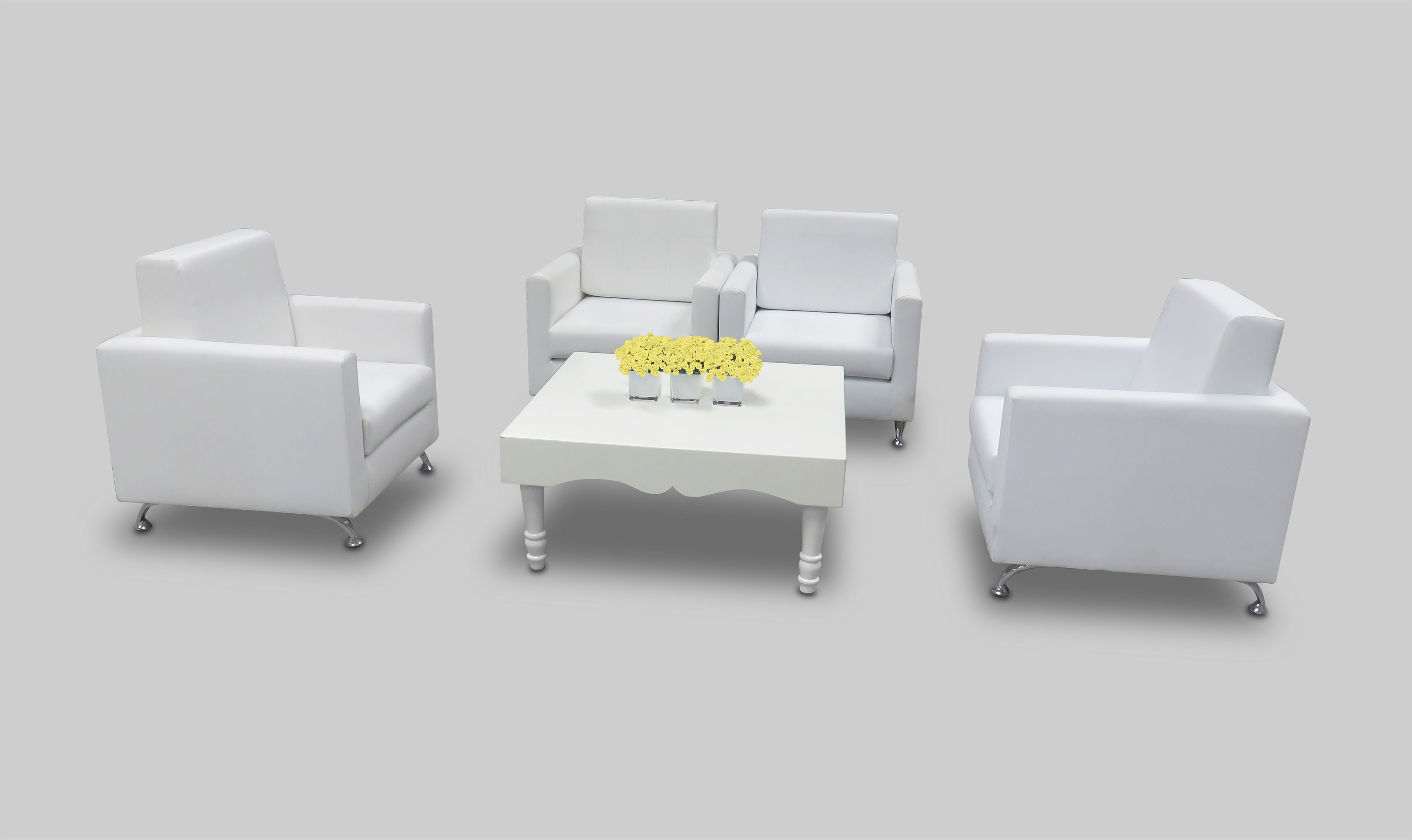 Avalon Chic Square White Coffee Table available for rent or sale