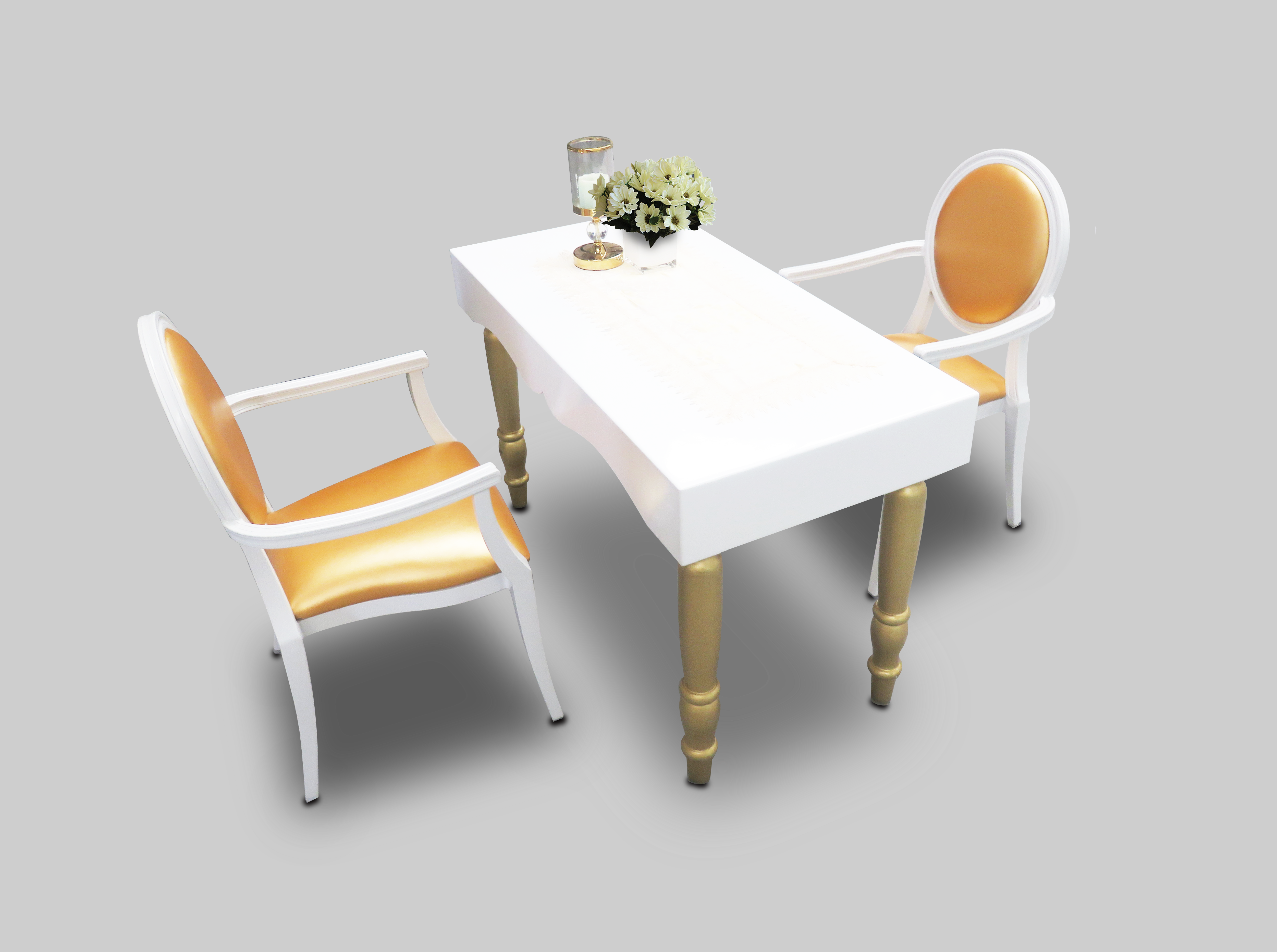 Avalon Curved Rectangular Dining Table With Gold Dior Dining Chairs 1  300x224   Avalon Chic Rectangular