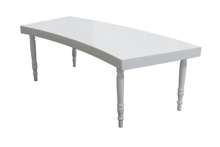 Avalon Curved White Dining Table | Buy or Rent Furntiture in UAE | Areeka Even Rentals