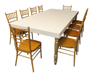 avalon dining table with gold chiavari chairs 1 300x249 - Avalon Grand Gold Dining Table