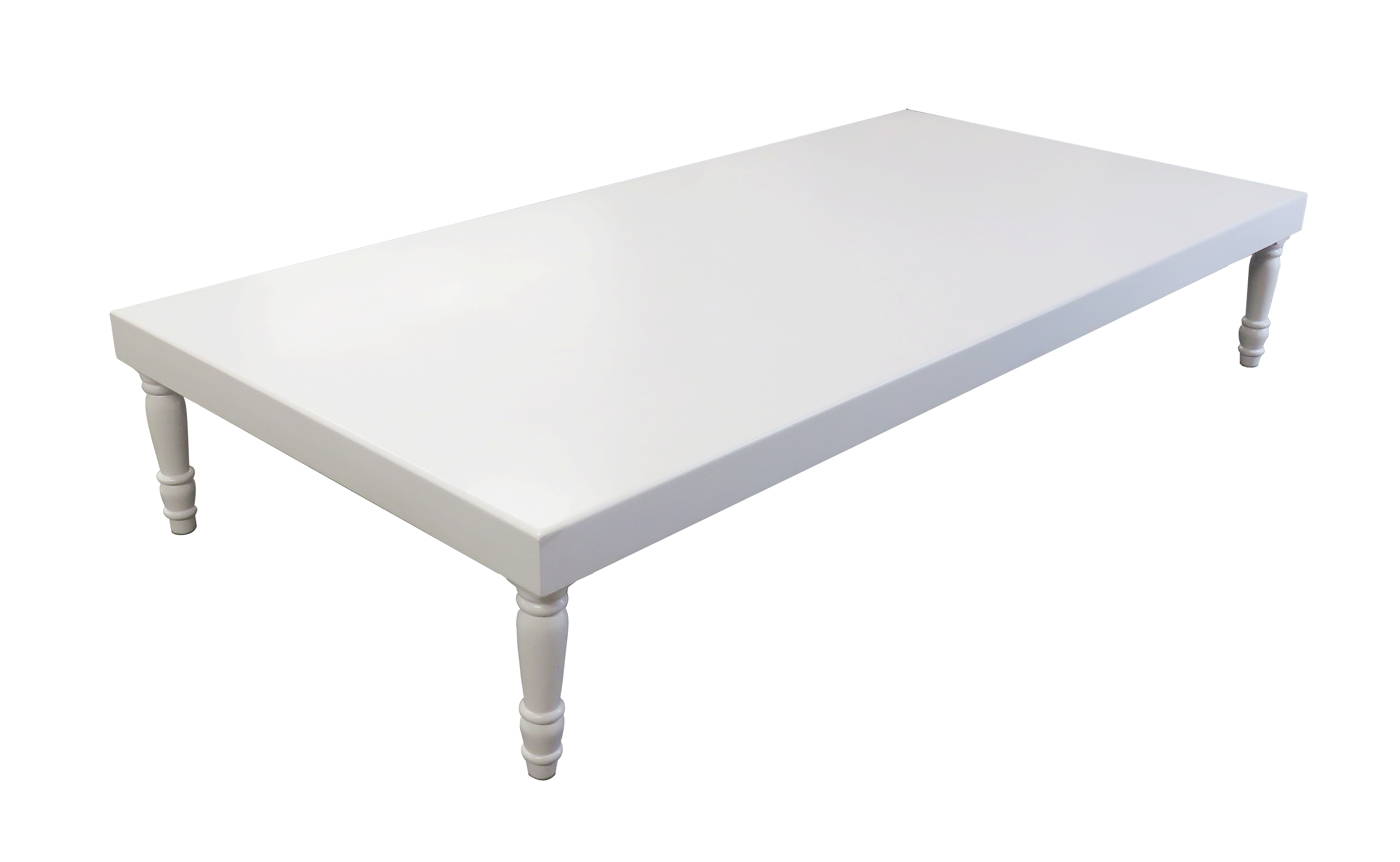 Rent or buy avalon grand white coffee table event rental for Buy white coffee table