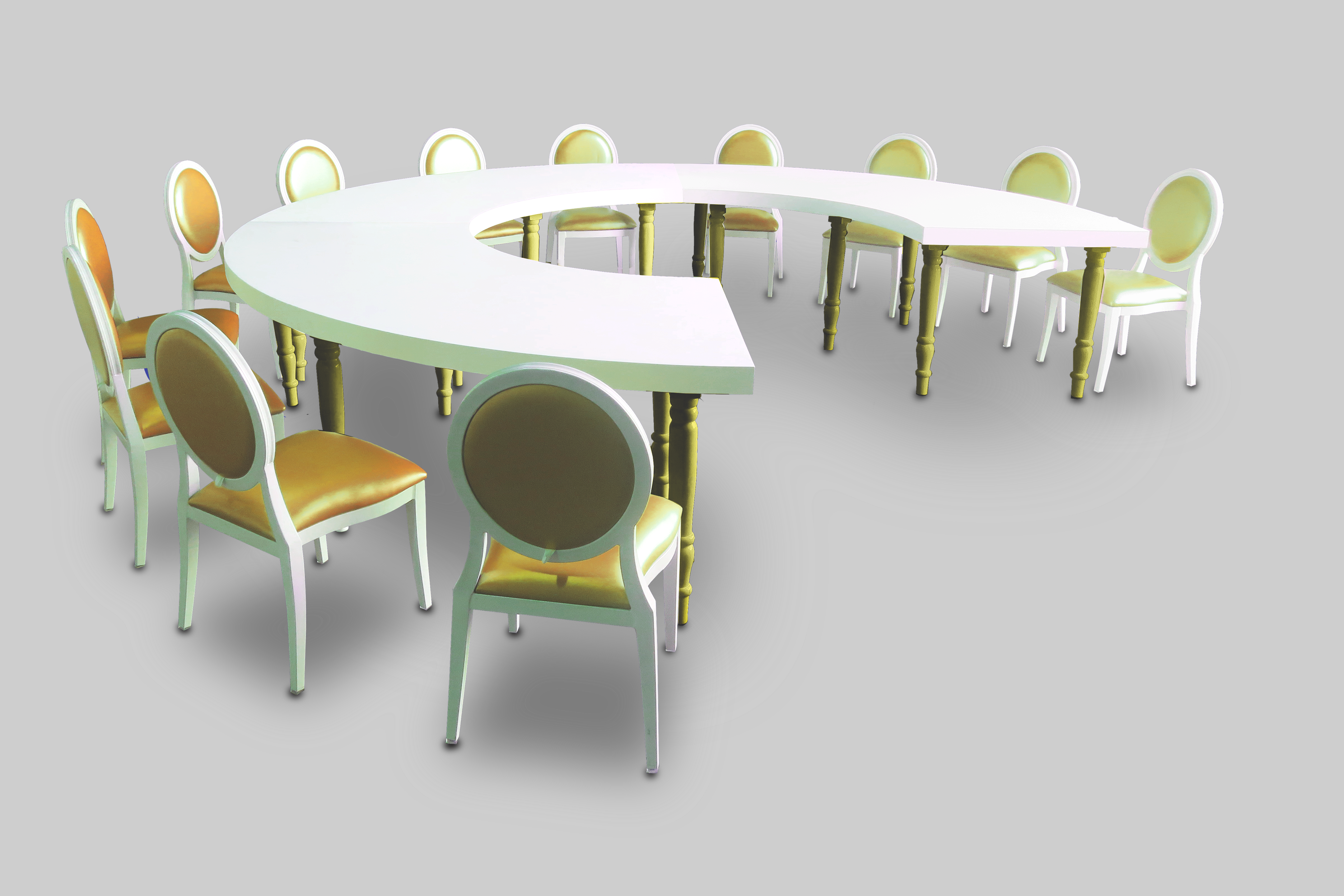 Avalong Quarter Moon Gold Dining Table Setup Dior Chairs Avalon