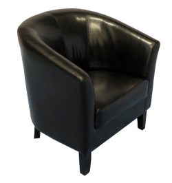 black bucket chair, black tub chair