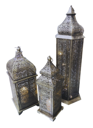 brass arabic lamps lit 3 3 300x413 - Medium Brass Arabic Lamp