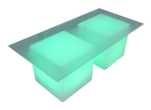 frosted rectangular led cube 1 300x219 - Lumiere LED Vertex Coffee Table