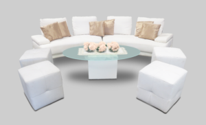 le minou oval frosted glass coffee table setup with serpent sofa and roma square pouffes 1 300x182 - Le Minou Oval Glass Coffee Table