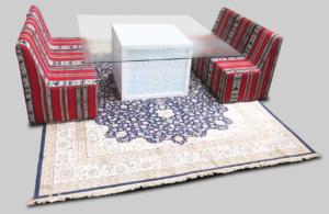 2017 may Mashrabiya Dining Table Arabic Setup 1 4 300x195 - High Arabic Majlis 3-Seater Sofa