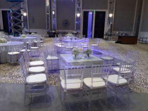 Acrylic Chiavari Chairs Set up 4 1 300x225 - Clear Acrylic Chiavari Chair