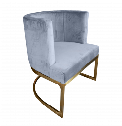 Gray Chair, bucket chair, velvet chair