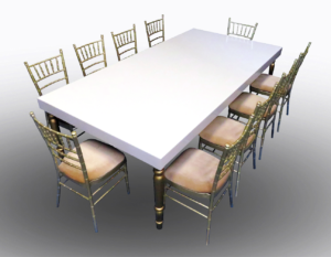 Avalon Dining Table with Champagne Chiavair Chairs 1 300x233 - Champagne Chiavari Chair