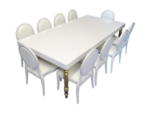 Avalon Dining Table with Louis Chair 1 300x225 - White Dior Dining Chair
