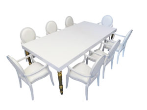 Avalon Dining Table with Louis Dining Chair with Arms 1 300x225 - Avalon Grand Gold Dining Table