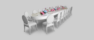 Avalon Oval White Dining Table Setup Dining Tables Jan2018 300x129 - Avalon Oval Dining Table