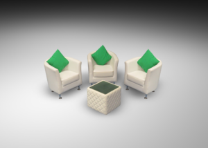 Bucket Chairs with Royal Windsor Cube Table and green cushions 1 300x214 - Royal Windsor Cube Table
