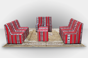 Chameleon Arabic High Seating without Arms 3 300x197 - High Arabic Majlis 2-Seater Sofa