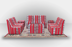 Chameleon High Arabic Seating without Arms with Arabic Cubes 3 300x197 - High Arabic Majlis 3-Seater Sofa