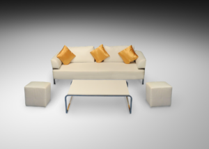 Chelsea 3 seater sofa with kensington rectangular coffee table and square roma pouffes and gold cushions R 1 300x214 - Chelsea 3-Seater Sofa
