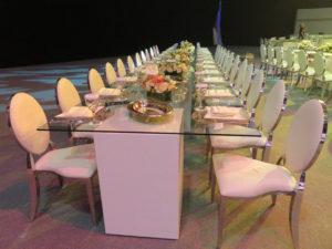 Chrome Dior Dining Chair with Le Minou Regal Dining Table 1 300x225 - Le Minou Regal Glass Dining Table