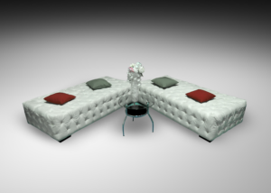 Classical button day bed with round glass coffee table and red and green cushions 1 300x214 - Dorset Classical Button Daybed
